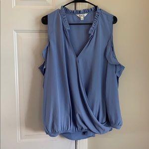 Blue open shoulder long sleeve top